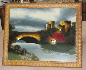Vintage Hand Painted Picture on Glass - Wood Frame - To Restore