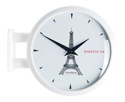 Modern Art Design Double Sided Wall Clock Station Clock Decor - Eiffel Tower(WH)