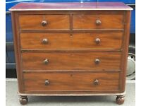 Victorian Mahogany Chest Of Two Over Three Drawers On Ball Feet (A27-11)
