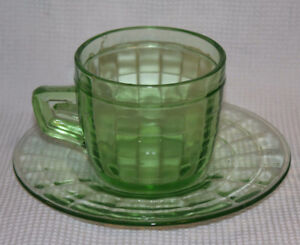 GREEN DEPRESSION GLASS CUP & SAUCER