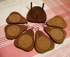 Ensemble de 6 sous-verres en bois forme de poire