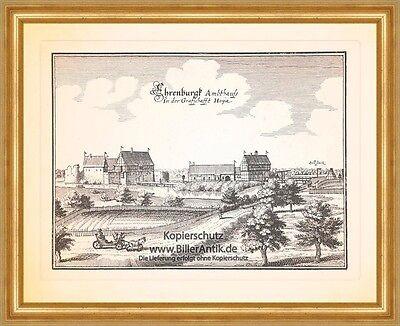 Ehrenburg Ambthauß in der Grafschaft Hoya Amtshaus Burg Kupferstich Merian 0380