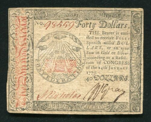 CC-95 JANUARY 14, 1779 $40 FOURTY DOLLARS CONTINENTAL CURRENCY NOTE XF