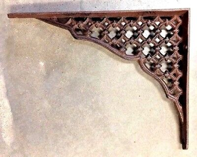 SET OF 4 LARGE LATTICE SHELF BRACKET BRACE Rustic Antique Brown Cast - Iron Lattice
