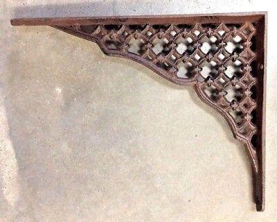 SET OF 2 LARGE LATTICE SHELF BRACKET BRACE Rustic Antique Brown Cast - Iron Lattice