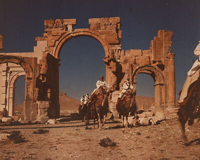 Monumental Arch (Bedouin men on camels at Monumental Arch of Palmyra in Syria Photo Print)