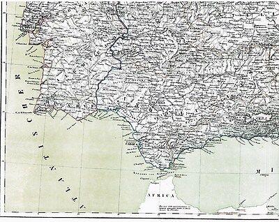 Echte 167 Jahre alte Landkarte SPANIEN u. PORTUGAL Mapa de España en Lienzo 1849