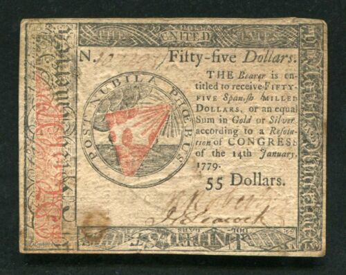 CC-98 JANUARY 14, 1779 $55 FIFTY FIVE DOLLARS CONTINENTAL CURRENCY NOTE