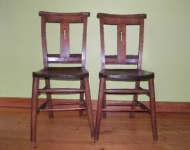 Pair of antique Scottish church chairs