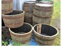 Half real oak whiskey barrel planter garden pots