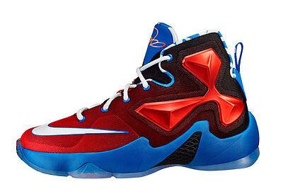 New Nike Lebron Xlll 808709 614 Youth Bright Crimson/White/Soar/Blk Size 5 Y