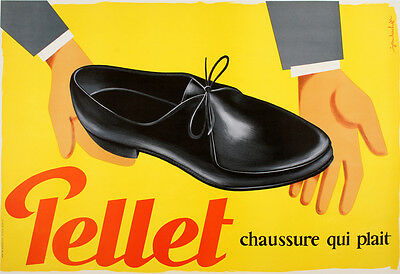 Original Vintage Poster Pellet Chaussure by Bachet c1960 French Shoes Fashion
