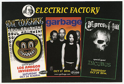 GARBAGE Cypress Hill SOUL COUGHING Incubus Original 1998 Concert Handbill