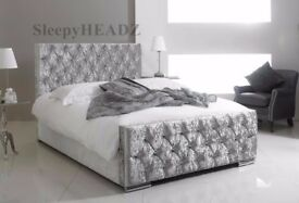 【❋❋ CHEAPEST OFFER ❋❋ 】NEW CHESTERFIELD CRUSHED VELVET BED FRAME SILVER, BLACK AND CREAM COLORS