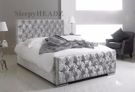 【FREE & FAST DELIVERY】DOUBLE BED CHESTERFIELD STYLE UPHOLSTERED DESIGNER BED FRAME CRUSHED VELVET