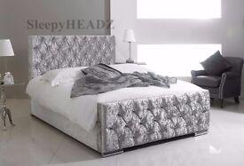 UPHOLSTERED DESIGNER BRAND NEW CHESTERFIELD CRUSHED VELVET BED FRAME SILVER, BLACK AND CREAM COLORS
