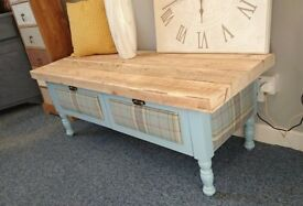 Tartan reclaimed timber top Coffee Table with tartan upholstered panels