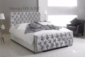 💚💚💚 BRAND NEW 💚💚💚 CHESTERFIELD CRUSHED VELVET BED FRAME 4FT6 DOUBLE 5FT KING