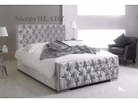 Brand New Chesterfield Diamante Black White Double Kingsize Sleigh Bed Frame.