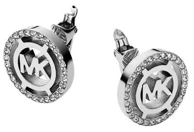 Michael Kors MKJ4084040 Silver Clear Fulton Heritage Pave Clip Earrings Diamante