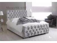 DOUBLE BED CHESTERFIELD SLEIGH STYLE UPHOLSTERED DESIGNER BED FRAME CRUSHED VELVET SALE !!!