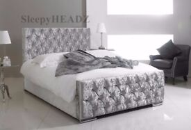 ❋★❋BLACK CREAM & SILVER ❋★❋SINGLE DOUBLE AND KING SIZES AVAILABLE -- CHESTERFIELD CRUSHED VELVET BED