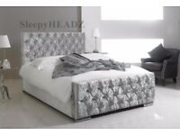 """""""SAME DAY FREE DELIVERY==NEW DOUBLE CRUSHED VELVET CHESTERFIELD BED WITH WIDE RANGE OF MATTRESS"""