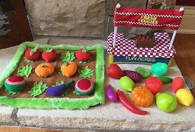 24 Piece Lot Play Food Set Toys Fruits Veggies Garden And More!