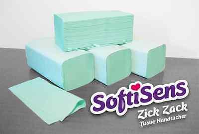 6400 Handtuchpapier 2-Lagig lind grün Papierhandtücher ZZ-Falz