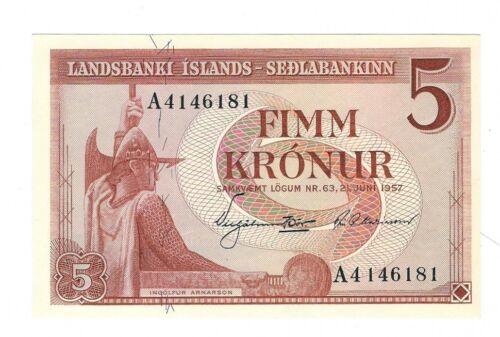 Iceland - 1957, Five (5) Kronur.  !!UNC!!