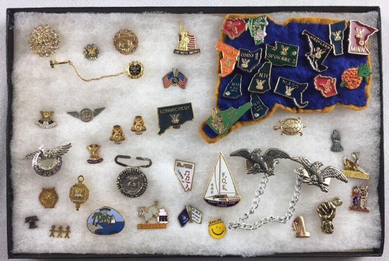 Lot Of 44 Pins & Tie Clips From The 1930
