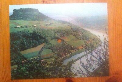 Tonpostkarte Postkarte Colorvox DDR Sächsische Schweiz : Lilienstein mit Elbe