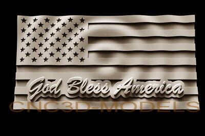 3d Model Stl For Cnc Router Engraver Carving Artcam Aspire Usa Flag America D241