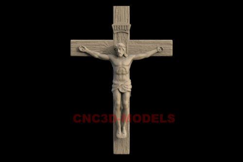 3D Model STL CNC File Router Artcam Religious Jesus Christ Religion Cross IS650