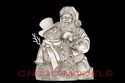3d Model Stl For Cnc Router Artcam Aspire Merry Christmas Santa Claus D685