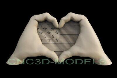 3d Stl Model For Cnc Router Artcam Aspire Usa Flag America Heart Love Hands D602