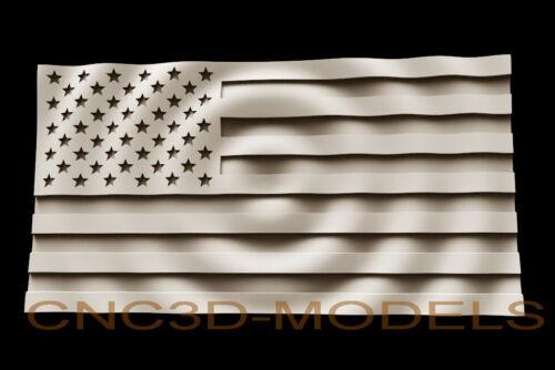 3D Model STL for CNC Router Carving Artcam Aspire USA Flag America D242