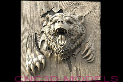 3d Model Stl For Cnc Router Artcam Aspire Bear Bears Grizzly Pano Animal D611