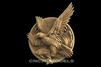 3d Model Stl For Cnc Router Carving Artcam Aspire Bird Animal Falco F643