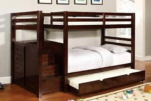 LORD SELKIRK FURNITURE - Princeton Twin / Twin Step / Staircase Bunk Bed in Espresso or White - $699.00