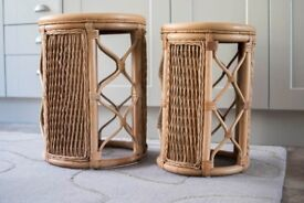 Wicker drum tables (2)