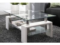 Modern white glass and chrome coffee table with middle shelf (FREE NEXT DAY DELIVERY)