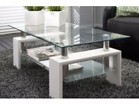 White Modern Rectangle Glass & Chrome Living Room Coffee Table With Lower Shelf ( Brand New )