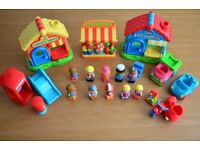 ELC Happyland shops, figures, cars, motorcycle, telephone booth, letter box and slide
