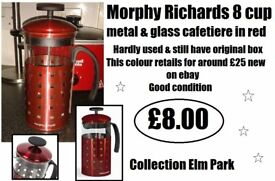 *** MORPHY RICHARDS RED 8 CUP CAFETIERE ***