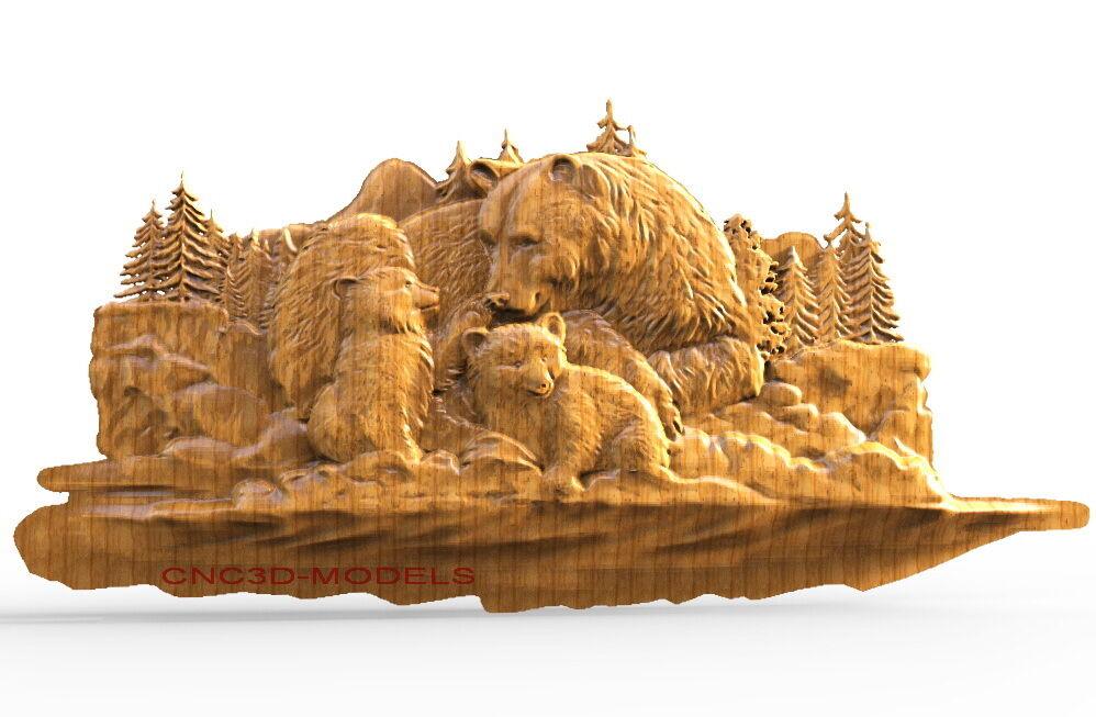 3D STL Models for CNC Router Engraver Carving Artcam Aspire Bear 1636