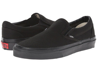 Vans Classic Slip On All Black Unisex Sneakers Canvas Shoes -