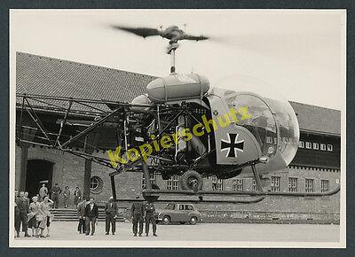 orig. Foto Helikopter Bell 47 Bundeswehr Ordensburg Sonthofen Wehrtechnik 1957