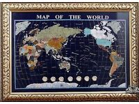 Gemstone map of the world with time zone clocks