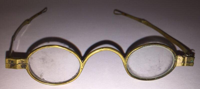 Antique CIVIL WAR ERA Brass Spectacles Eye Glasses Oval Turnpin Teardrop Finials